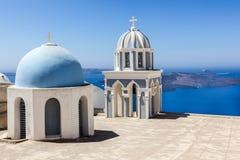 Santorini gränsmärkesikt Arkivbilder