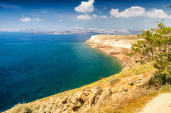 Santorini, Grèce Paysage aérien d'île merveilleuse en été Photos stock