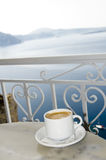 Santorini grec de vue d'île de café de Coffe Images stock