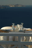 Santorini Grecia de la ciudad de Oia de la configuración del restaurante Imagen de archivo