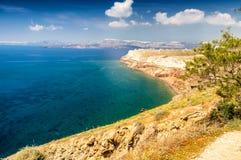 Santorini, Grecia Paisaje aéreo de la isla maravillosa en verano Fotos de archivo
