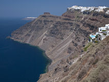 Santorini - Greece. The clifftop town of Thera perched on the edge of the caldera on the Greek island of Santorini in the Cyclades in the Aegean Sea off the royalty free stock photo