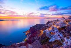 Santorini Greece. Oia Santorini Greece famous with romantic and beautiful sunsets Stock Image