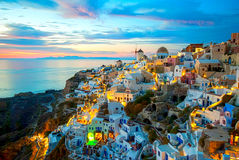 Santorini Greece. Oia Santorini Greece famous with romantic and beautiful sunsets Stock Images