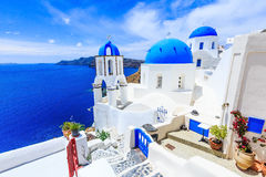 Santorini, Greece. Blue dome church on the village of Oia royalty free stock photography