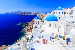 Santorini, Greece. Blue dome church on the village of Oia stock image