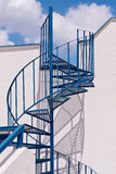 Santorini Greece Blue Spiral Staircase, shadows, Sky, Clouds Royalty Free Stock Photography