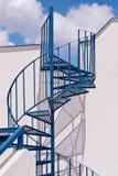 Santorini Greece Blue Spiral Staircase, shadows, Sky, Clouds Royalty Free Stock Photography