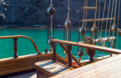 Santorini. Greece, Santorini, a Brigantine in navigation in the Caldera sea area royalty free stock images