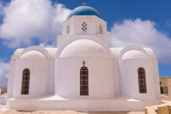 Santorini Greece Church with bells and cross against blue sky Royalty Free Stock Photo
