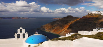 Santorini Greece Churches Stock Photo