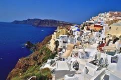 Santorini Greece. City coast cliffs Europe landscape architecture ocean Mediterranean Seaside Royalty Free Stock Photos