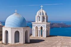 Santorini Greece classic bells and cross of Greek Orthodox church Royalty Free Stock Photography
