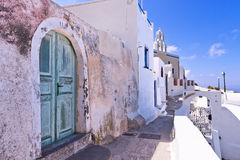 Santorini Greece cobbled stone street. Stock Image