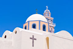 Santorini Greece Greek Orthodox Church, Cross, Tower, Dome Sky Stock Photo