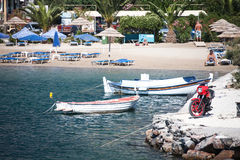 SANTORINI / GREECE - 4 JULY 2012: beach with a variety of entertainment for leisure. Stock Images