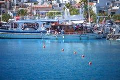 SANTORINI / GREECE - 4 JULY 2012: pleasure boats are moored. Stock Photos