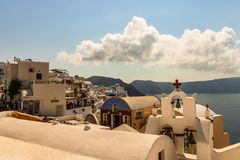 Santorini, Greece - 2019. Narrow streets and cozy hotels of Oia village, Santorini Island stock photo