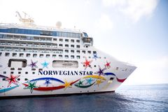 Santorini, Greece - 17.10.2018: Norwegian Star is a cruise ship owned and operated by Norwegian Cruise Line shipyard in. Santorini in Greece stock photography