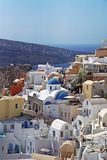 Santorini, Greece, October 19 2018 Beautiful view with churches in Oia, Santorini, Cyclades royalty free stock image
