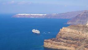 Santorini, Greece - October 11, 2018: Cruise Ship in Santorini Anchored in the Volcanic Caldera. Santorini, Greece - October 11, 2018: Cruise Ship in Santorini stock footage