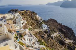 SANTORINI, GREECE - October 9, 2014: Sunset in the village of Oia stock photography