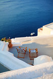 Santorini, Greece. Oia Town, Lounge and Sea view Royalty Free Stock Photos