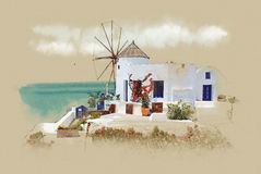 Santorini, Greece, old postcard. Watercolor sketch. Sepia. graphics on old paper Stock Photos
