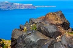 Santorini volcanic stone rock and caldera, Greece. Santorini, Greece panorama with big volcanic stone rock and caldera, sea, flowers and volcano island stock photos
