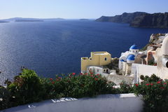 Santorini,Greece. Panoramic view of the Santorini caldera, taken from Fira stock photo