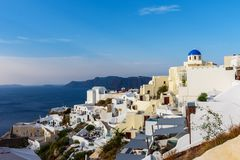 Unique architecture of Oia Santorini`s houses on the cliff stock photography