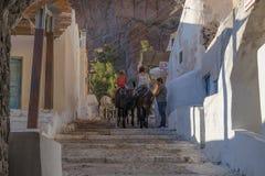 SANTORINI/GREECE 05 SEP 2017 - Santorini donkeys carrying touris Stock Images