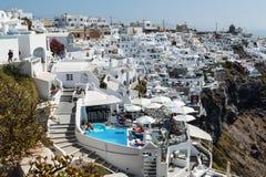 Santorini, Greece - September 18, 2016: View of Imerovigli village with typical white Greek houses on Santorini island, Greece.  Stock Photo