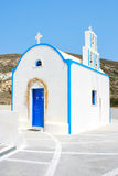 Santorini, Greece: traditional typical white and blue church Stock Image