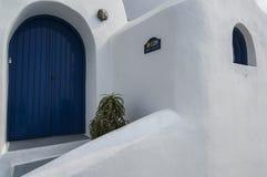 SANTORINI/GREECE vergoelijk Huizen overlookin Royalty-vrije Stock Foto's