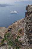 SANTORINI/GREECE - View of Cruiseship in Calde Royalty Free Stock Photos