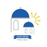 Santorini greek island icon travel illustration Stock Images