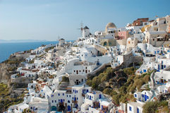 White houses in Santorini island, Greece. Santorini Greek island from top Stock Photos