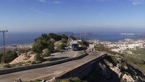 Santorini grekiska öar som panorerar skottet av ön lager videofilmer