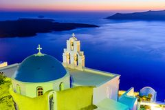 Santorini Grekland - Firostefani solnedgång arkivbild