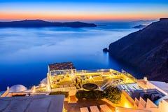 Santorini Grekland - Firostefani solnedgång arkivfoto