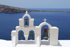 Santorini Grekland kyrkliga Klockor Arkivfoton