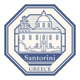 Santorini Grekland st?mpel stock illustrationer