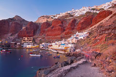 Santorini - The harbor of Oia in evening light. Stock Images