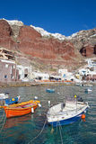 Santorini - The harbor of Oia in evening light. Royalty Free Stock Image