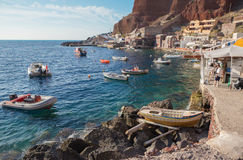 Santorini - The harbor of Oia in evening light. Stock Photo