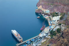 Santorini - The harbor under Fira town. Stock Images