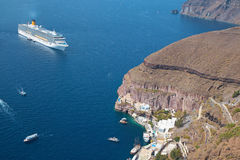 Santorini - The harbor under Fira town. Stock Photography