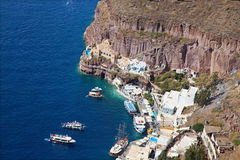 Santorini - The harbour under Fira town Royalty Free Stock Photo