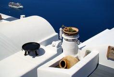 Santorini havssikt Arkivfoton